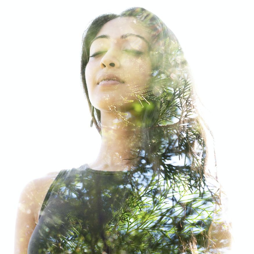 Peaceful woman double exposure with nature