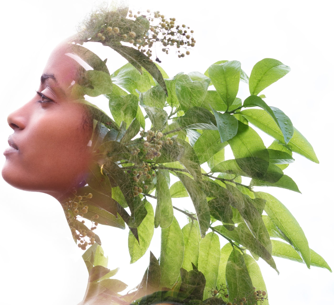 Woman double exposure with natural plant