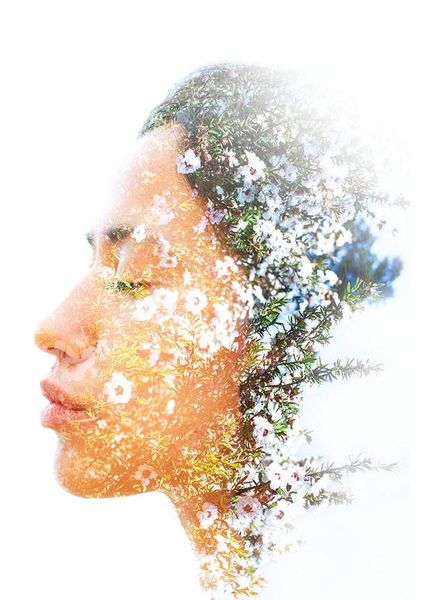 The side profile of a woman with several branches of flowers overlaid on her silhouette