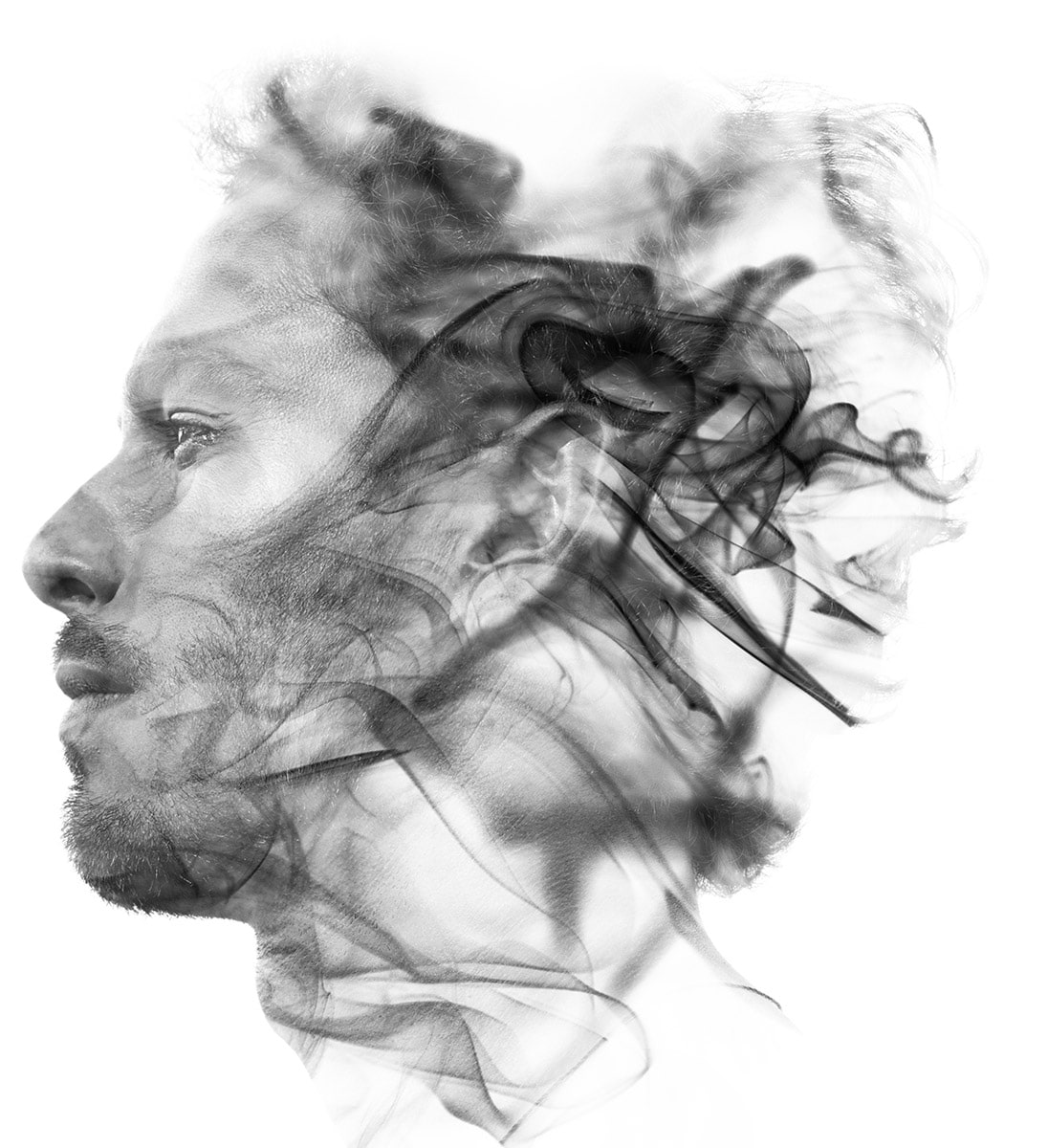 Double exposure of a man feeling peaceful after auricular acupuncture